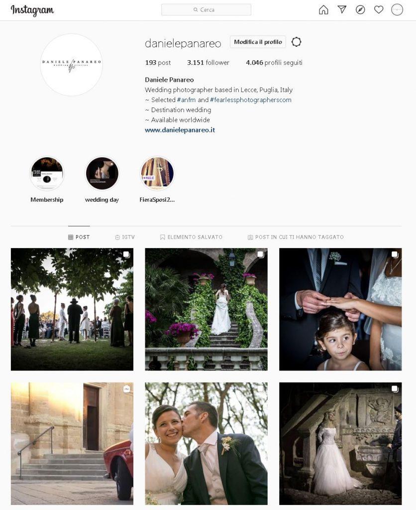 feed instagram fotografo matrimonio in Puglia sui social
