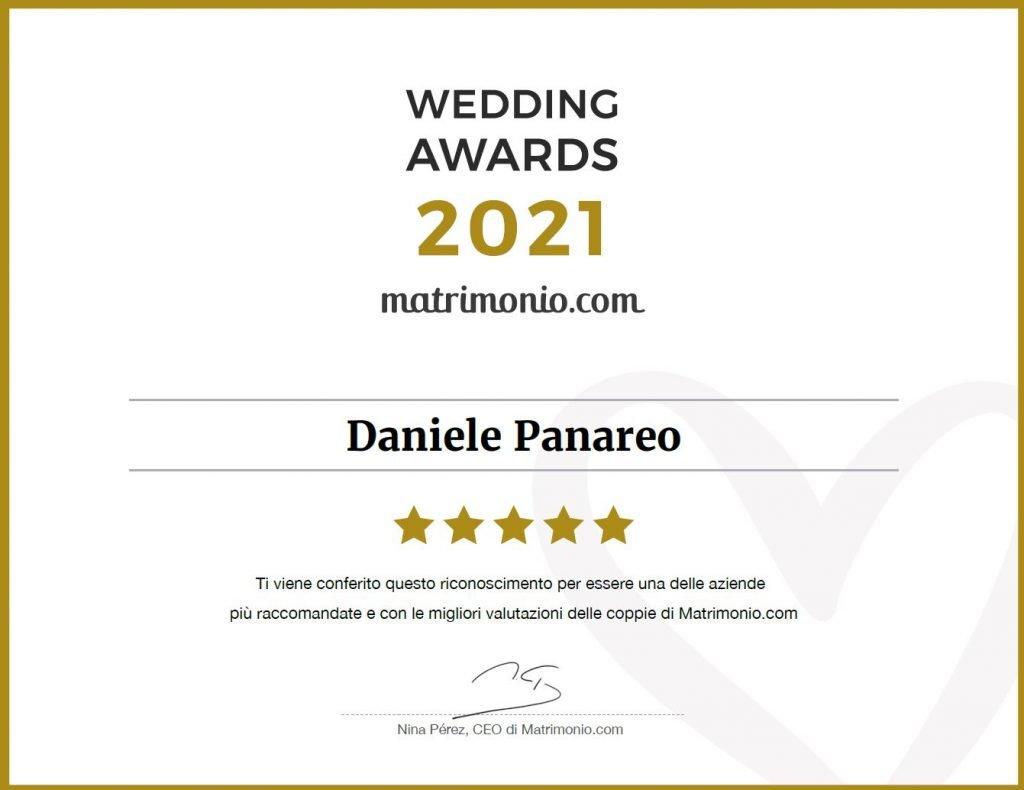 Diploma personale di Daniele Panareo tra i Vincitori del Wedding Award 2021